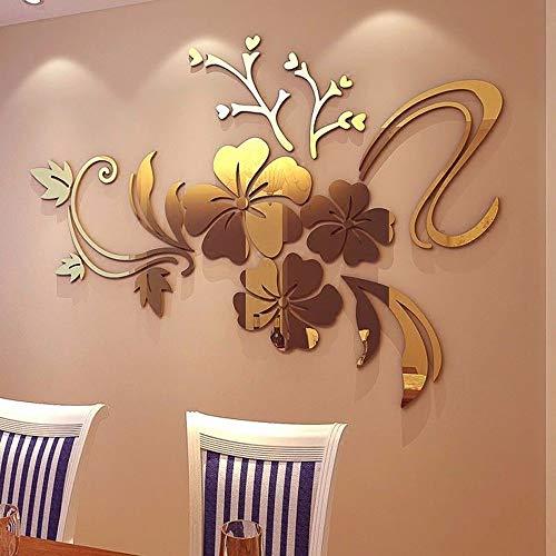 YWLINK 3D Espejo Floral Arte ExtraíBle Etiqueta De La Pared AcríLico Mural...