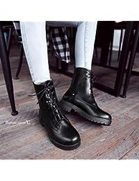 &ZHOU Botas otoño y del invierno botas cortas mujeres adultas 'cargadores de Martin Knight botas a14 , black , 38