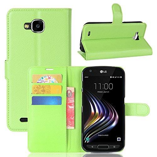 Kihying Hülle für LG X Venture Hülle Schutzhülle PU Leder Flip Wallet Fashion Geschäft HandyHülle (Grün - JFC06)