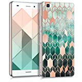 kwmobile Funda para Huawei P8 Lite (2015) - Carcasa de [TPU] para móvil y diseño de Rombos en [Azul/Oro Rosa]