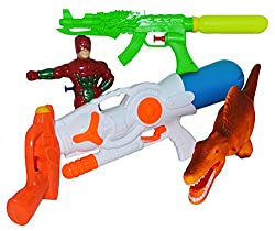 Toyzstation Space Pressure Water Gun, He-man Figure Water gun, Water Squirt Mini Gun, Water Squirt Water Gun, Dinosaur Water Gun Combo