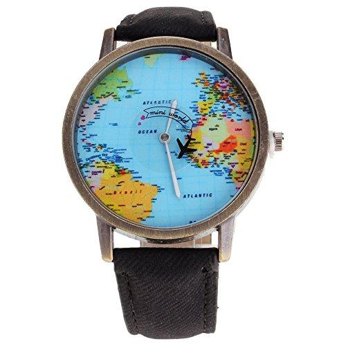 HuntGold Herren-Armbanduhr, modisch, mit Mini-Weltkarten-Flugzeug-Motiv, elektrisch, Jeans-Lederband