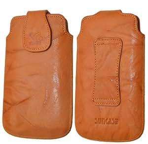Original Suncase Echt Ledertasche für HTC Evo 3D in wash-orange