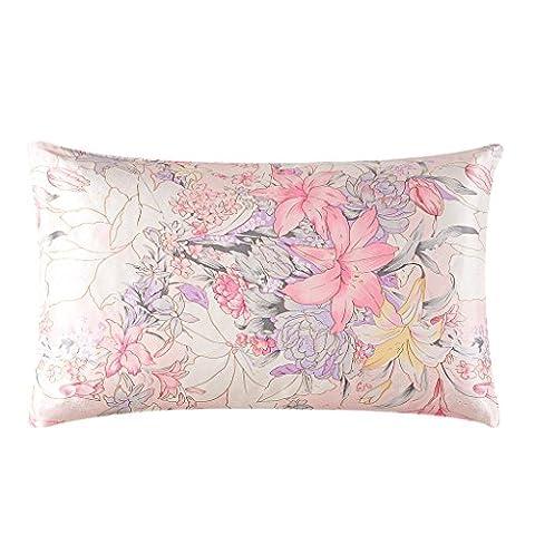 HYSENM Kissenhülle Seide Blume Elegant Atmungsaktiv Hautpflege Haarpflege Weich Farbecht Umschlag Rechteckig Kissenbezug Silk Pillowcase Kopfkissenbezug, Lilie 50x70cm
