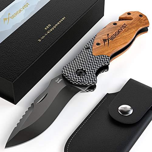 BERGKVIST® 3-in-1 Taschenmesser K20 [2019] Zweihandmesser darf geführt Werden I scharfes Klappmesser I Outdoor Messer mit Holzgriff inkl. Schleifstein & Gürteltasche