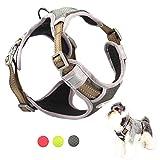 TUFF HOUND Hundegeschirr Oxford und Nylon Material mit Reflektierenden Streifen, Mesh Gepolstert, Anti-Plötzlich Ziehen, Perfekte Größen für Hunde (M, Gray)