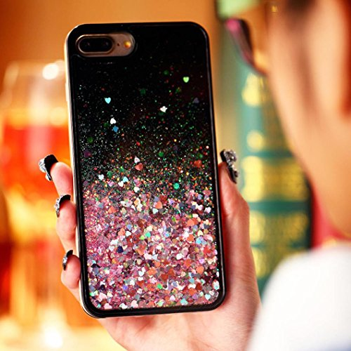 Ouneed® For iPhone 7 Plus Hülle, 3D Dynamic Liquid Quicksand Glitter Star Heart Case Cover für iPhone 7 Plus 5.5 Zoll (5.5 Zoll, A) B