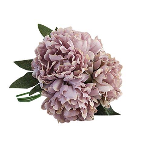TIREOW Blumenstrauß Romantische Hochzeit Bunte Künstliche Hochzeitsstrauß Rosen Seidenblumen Kunstblumen Blumen Brautstrauß der Braut (Grau)
