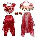 Sharplace Tenue Déguisement de Danseuse Orientale pour Enfant Fille Cosplay Halloween Carnaval - Rouge, L