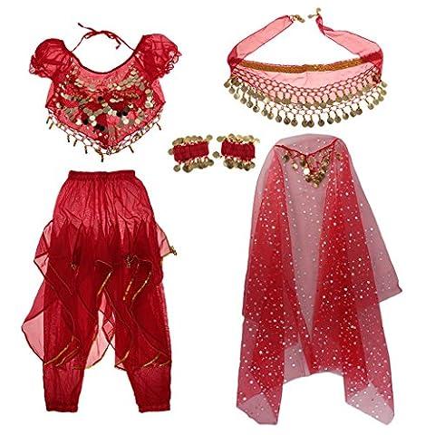 MagiDeal Set Costume de Danse Orientale Top +Pantalon +Voile+Echarpe+Manche Poignet aux Paillette pour Enfant Fille - Rouge, M