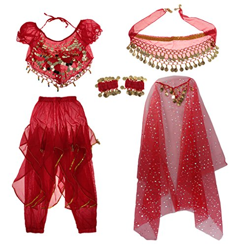 Gazechimp Kinder Bauchtanz Kostüm Set Münze Quaste Muster - Rot, l