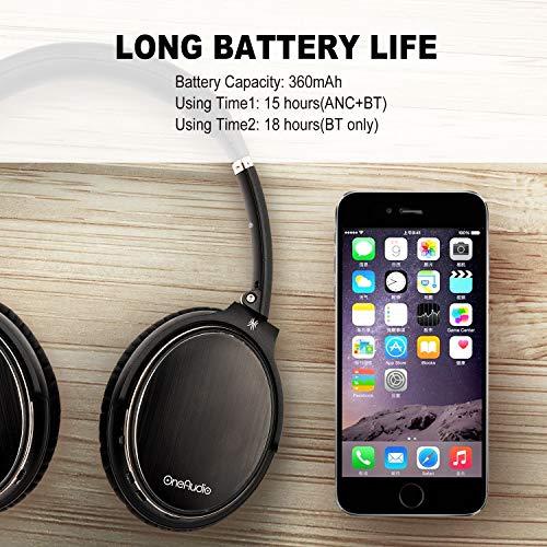 OneAudio Active Noise Cancelling Kopfhörer ANC Bluetooth Over Ear Headset mit aktiver Rauschunterdrückung 18 Stunden Spielzeit, integriertem Mikrofon, Schwarz - 4