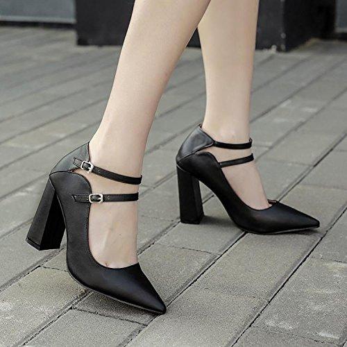 LvYuan-mxx Femmes sandales / chaussures de mariage / rétro Simple / pointu orteil double boucle bouche superficielle / talon Chunky / Bureau & Carrière / Vêtements / Casual / chaussures à talons hauts BLACK-39