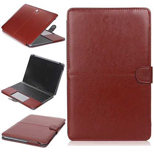 TechCode Hülle für 13,3 Zoll MacBook Retina, Premium PU Leder Luxus Buch Folio Slim Fit Leicht Stilvoll Klassischer Stil Retro Ultra Thin Stand Hülle für MacBook Retina 13,3 Zoll (Braun)