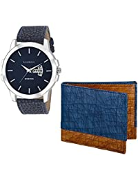 Laurels Blue Men's Wallet & Watch- Combo Pack (CP-INC-603-HRNT-II-0306)