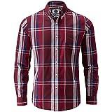 Charles Wilson Long Sleeve Classic Casual Shirt (Medium, Blue & Port)