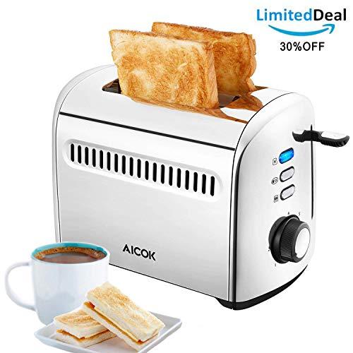 Aicok Toaster 2 Scheiben Kleine toaster Edelstahl, Extra Breiter Schlitz (4cm), 7 Bräunungsstufen, Auftau- und Aufknusperfunktion, Herausnehmbare Krümelschublade, 950W