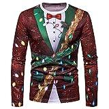 Marlene (R) Herren Weihnachten Tops-Weihnachtsbaum Drucken-Langärmeliges T-Shirt Oberteil (-35%) S~2XL