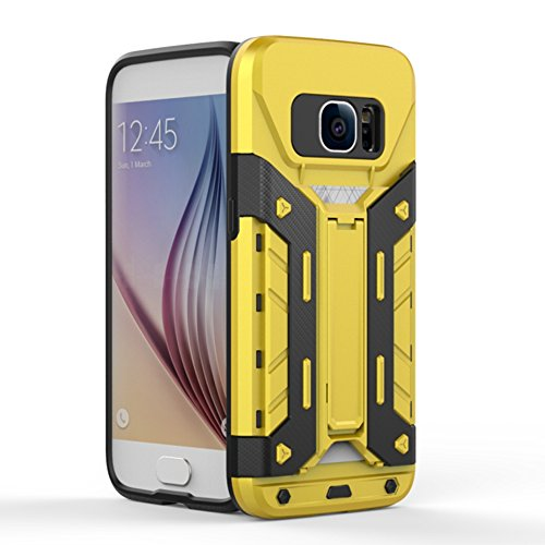 Note5 Coque,EVERGREENBUYING [Robot-Armor] léger 2 en 1 N9200 Cases [Metal Slate] Housse Etui Premium Kickstand Bumper Hard Shell Back Coque Case Pour Samsung Galaxy Note 5 Noir Jaune