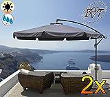 2 Stück PREMIUM XXXL Ampelschirm 3,50 m x 3,50 m, 8-teilig, 8 Streben, 3,50 x 3,50 m, hellgrau / grau, robustes ca. 200 g/m² Polyester, Sonnenschirm UV50+ KOMPLETT mit Standkreuz, Standfuß + ca. 50 mm Mast, grau, Überdach, Schirm Strandschirm, stabiler Gartenschirm, faltbarer Sonnenschirm - dunkelgrau, hell dunkel, grauer Strandschirm, Sonnendach Regendach Vordach-Rädern, Schirm mit weichem Stoffbezug-extrem wetterfest, tragbar, Strandschirm, hochwertig robust stabil