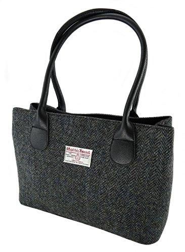 Authentische klassische Damenhandtaschen LB1003, aus Harris Tweed, Grau