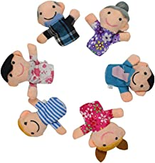 Deals India Family Finger Puppet Mama, papa ,Grandma ,Grandpa ,sis , Brother(Set of 6)