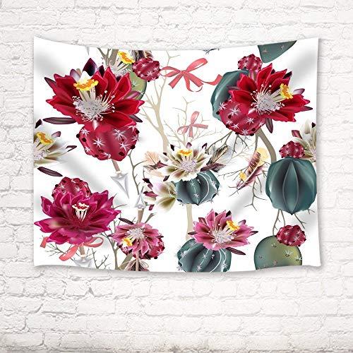 XURANFANG Kaktus Tapisserie Isoliert Kaktus Blume Vektor Illustration Wandkunst Hängende Wanddecken, Rot, 150 x 100 cm
