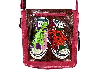 Süße Umhängetasche Canvas Style mit Turnschuhen und echten Schnürrsenkeln mit Glitzerfaden - Damen Mädchen Teenager Tasche