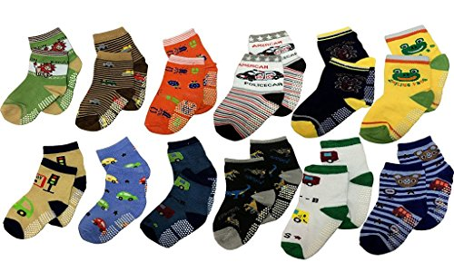 Krystle BABY { 12 PAIRS } Anti Non Skid/Slip / Grip / gripper Socks KIDS BOY/GIRL SOFT TOUCH COTTON RICH SOCKS (PO12)
