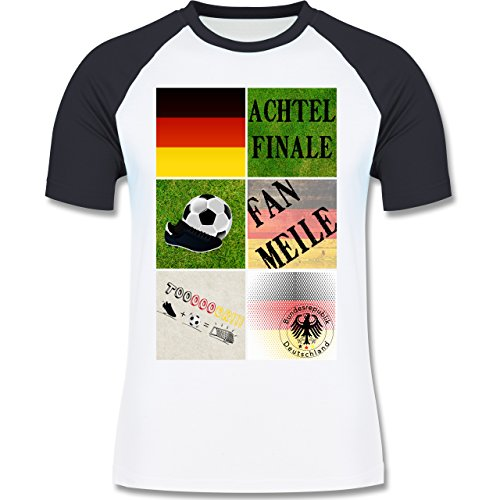 EM 2016 - Frankreich - Deutschland Achtelfinale Fan Shirt - zweifarbiges Baseballshirt für Männer Weiß/Navy Blau