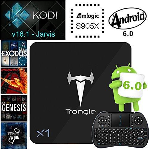 [Mit Wireless Mini Tastatur] SEGURO X1 Android 6.0 TV Box, KODI 16.1 Streaming Media Player Amlogic S905X Quad Core 2GB+8GB eingebaute WIFI mit vorinstallierte Add-ons, Support OTA Online Upgrade - 2