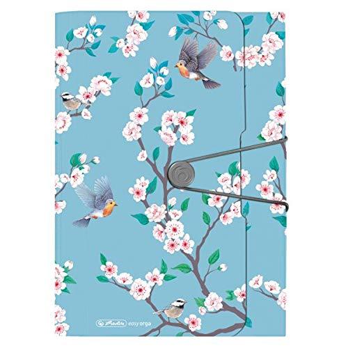 Fächermappe Ladylike Birds, 12 Fächer mit Gummizug und Visitenkartenfach, 1 Stück