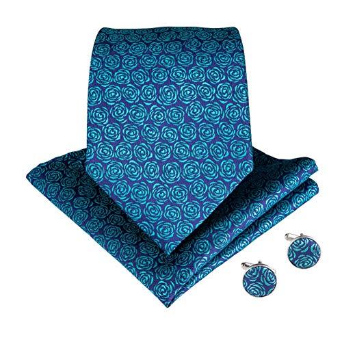 KYDCB Polyester Krawatte Gravata Taschentuch Manschettenknöpfe Sets Teal Farbe Floral Hochzeit Krawatte Set für Männer Taschentuch Krawatten Set (Teal Hochzeit Farben)