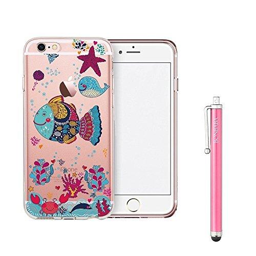 Coque iPhone 6 Plus/6s Plus Housse étui-Case Transparent Liquid Crystal Mandala en TPU Silicone Clair,Protection Ultra Mince Premium,Coque Prime pour iPhone 6 Plus/6s Plus--les flocons de neige la mer