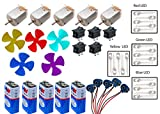 Supreme-Mart Science Projects Kit for DIY, Toy Motor, 4 Colour LED, 9V Battery, Mini 4 Wing Fan, Battery Snap, Switches (Multicolour) Pack of 5 Each