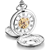 Infinite U High-end Skeleton Roman Numerals White Big Twin-Lids Mechanical Pocket Watch