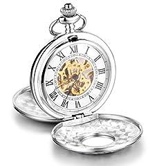 Idea Regalo - Infinite U-Coperchio alta qualità, con scheletro meccanico, numeri romani, in acciaio, grande, motivo: orologio da taschino, colore: argento, con confezione regalo, per uomo/donna