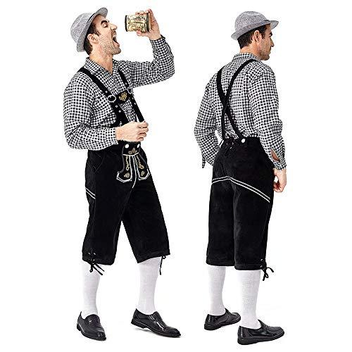 DOMDIL Oktoberfest Bekleidung Kostümset (Hut,Hemd und Hose) für Herren Trachten Herren Lederhosen traditionelle Bekleidung, graue Hose, dunkelgraue Hemd und Hut,XL