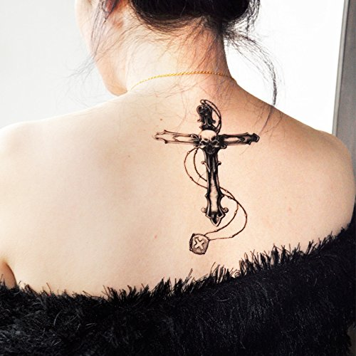 Tatuaggi adesivi temporanei rimovibili per body art croce e teschio umano tatuaggi adesivi - fashionlife