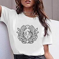 LuoMei Camiseta Estampada Blanca Jersey de Manga Corta con Cuello en o para Mujer Camiseta de Algodón Puro para Mujer Camiseta con Fondo para Mujer Camiseta de Verano para MujerComo se muestra, XS