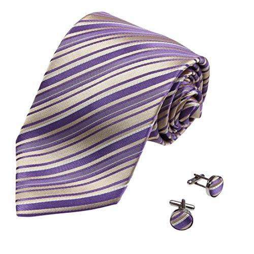 A2089 Slate Blue Gold Stripes Oro Idea regalo per Portatori dell'Anello Unica seta Cravatte Gemelli Set 2PT da Y&G