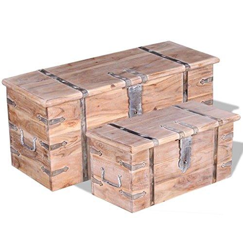 vidaXL 2-tlg. Aufbewahrungstruhen-Set Holztruhe Couchtisch Beistelltisch Akazien