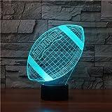 Ahat Illusione Ottica 3D Deco lampada LED Desk luce 7 di notte che Cambiano Colore(Rugby Calcio)