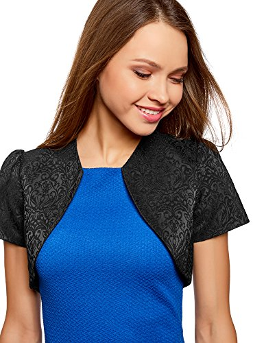 oodji Collection Damen Jacquard Blazer-Bolero Schwarz (2900J)
