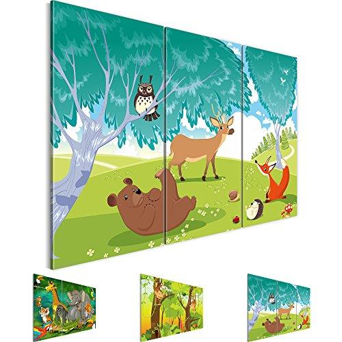 Bilder 120 x 80 cm - Zoo Tiere Bild - Vlies Leinwand - Kunstdrucke -Wandbild - XXL Format – mehrere Motive und Größen im Shop - Fertig Aufgespannt - Kinderzimmer – Wald 001831c