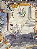 YH-Arts 11x 35,6cm Mediterraner Innenhof Art Fliesen, Keramik, Mehrfarbig