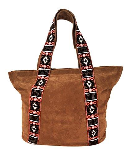 Handtasche Umhängetasche Canvas Shopper Tasche, Braun (Billig Canvas Tote Taschen)