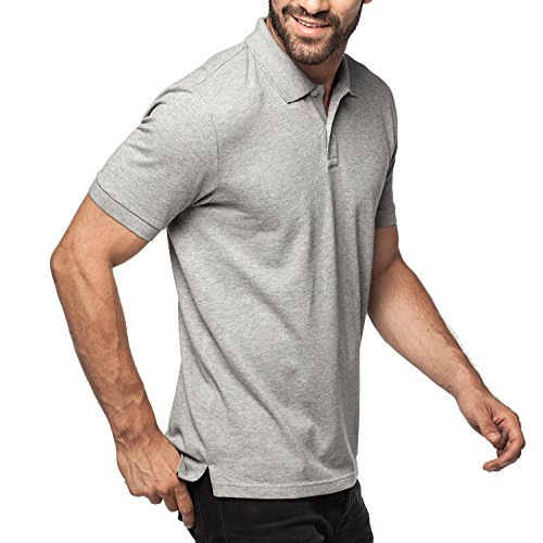 Lapasa Herren Poloshirt - 100% Premium els Baumwolle - Kurzarm Pique Polo Shirt Klassische Passform M019 (XXL/X X-Large (Brust 119 – 124cm), Leicht Heidegrau) (Shirt Knit Pique)