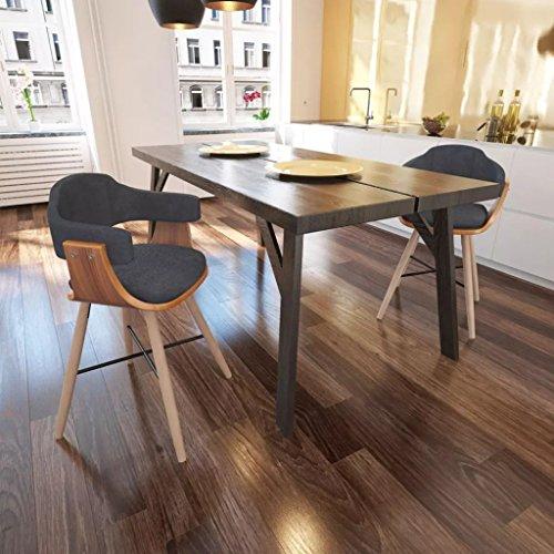 Lingjiushopping 2Stück Stühle Esszimmer aus Holz geschwungen und Stoff Farbe: Grau dunkel Material: Gestell aus Holz von Nussbaum + Beine Buche + Füllung Frottee + Bezug aus Stoff (Aus Tisch Stoff Nussbaum)
