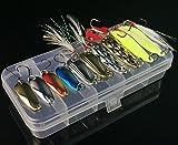 Milepet Juego de cucharas de pesca, señuelos de metal, cucharas VIB Spinner, juego de aparejos de cebos duros para trucha, bajo, salmón, agua dulce, 20 unidades/caja, 3 g-6,5 g